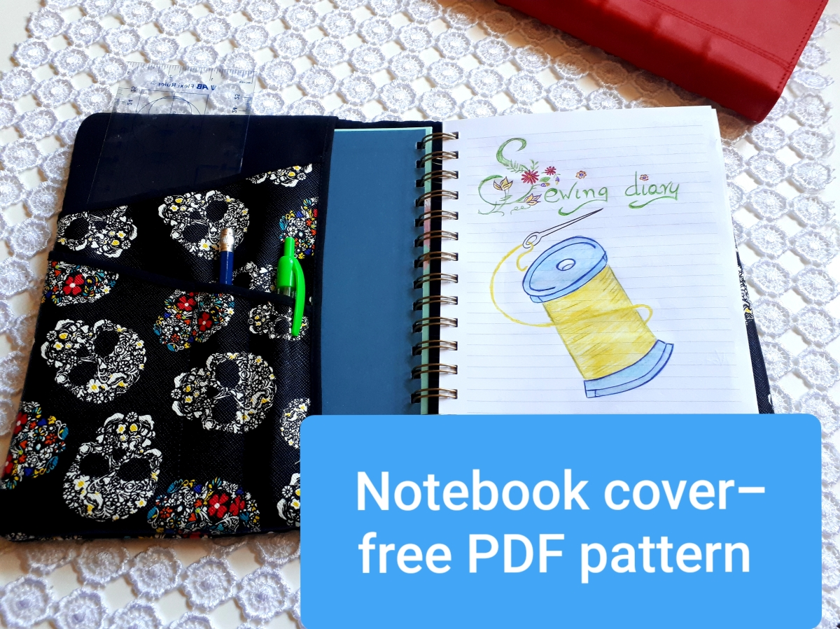 Free PDF notebook cover pattern + sewingtutorial